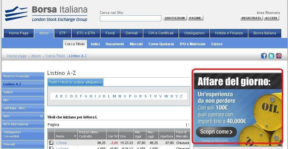 Esempio 3 pubblicità Forex pubblicata sul sito di Borsaitaliana.it
