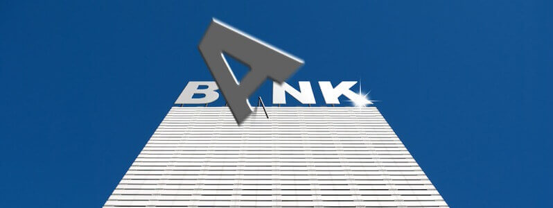 Conceptual image illustrating the collapse of banking institutions