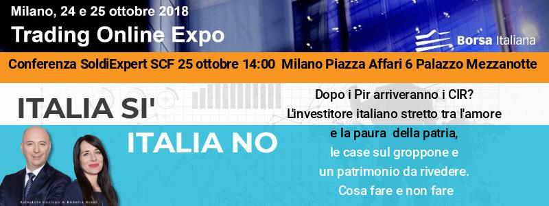 Italia sì o Italia no? Vieni a sentirci a Milano il 25 ottobre alla Borsa Italiana